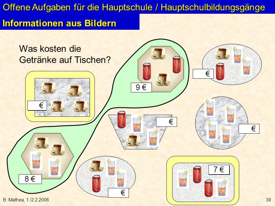 B. Mathea, 1./2.2.200639 Offene Aufgaben für die Hauptschule / Hauptschulbildungsgänge Informationen aus Bildern Was kosten die Getränke auf Tischen?
