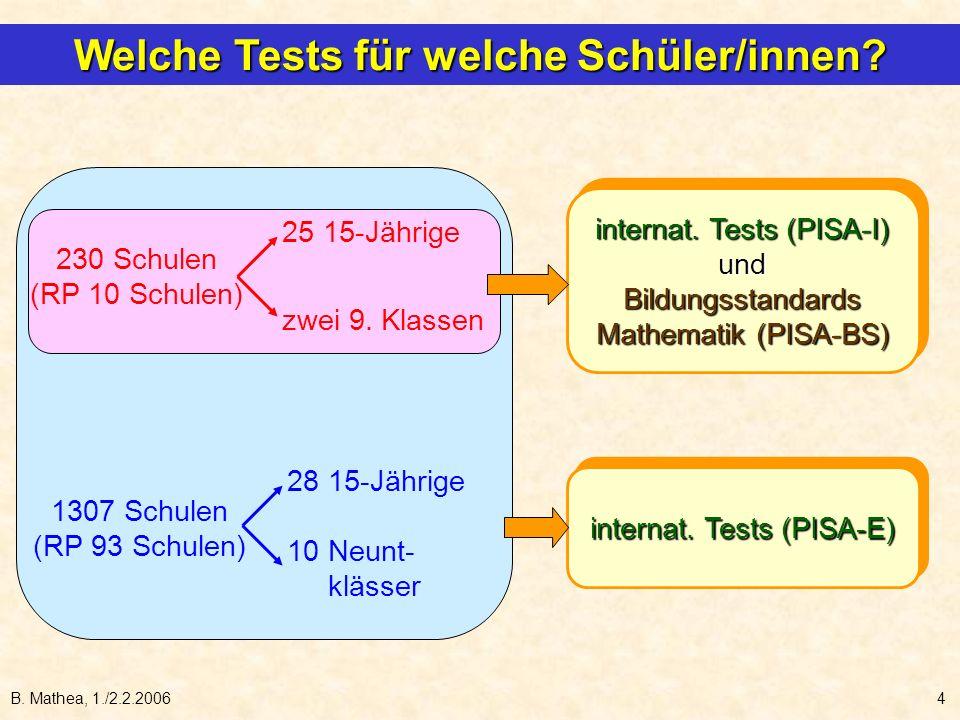 B. Mathea, 1./2.2.20064 internat. Tests (PISA-E) internat. Tests (PISA-I) und Bildungsstandards Mathematik (PISA-BS) internat. Tests (PISA-I) und Bild