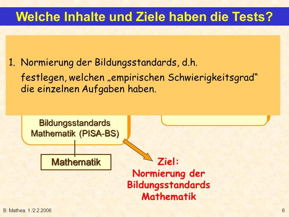 B. Mathea, 1./2.2.20066 internat. Tests (PISA-I) und Bildungsstandards Mathematik (PISA-BS) internat. Tests (PISA-I) und Bildungsstandards Mathematik