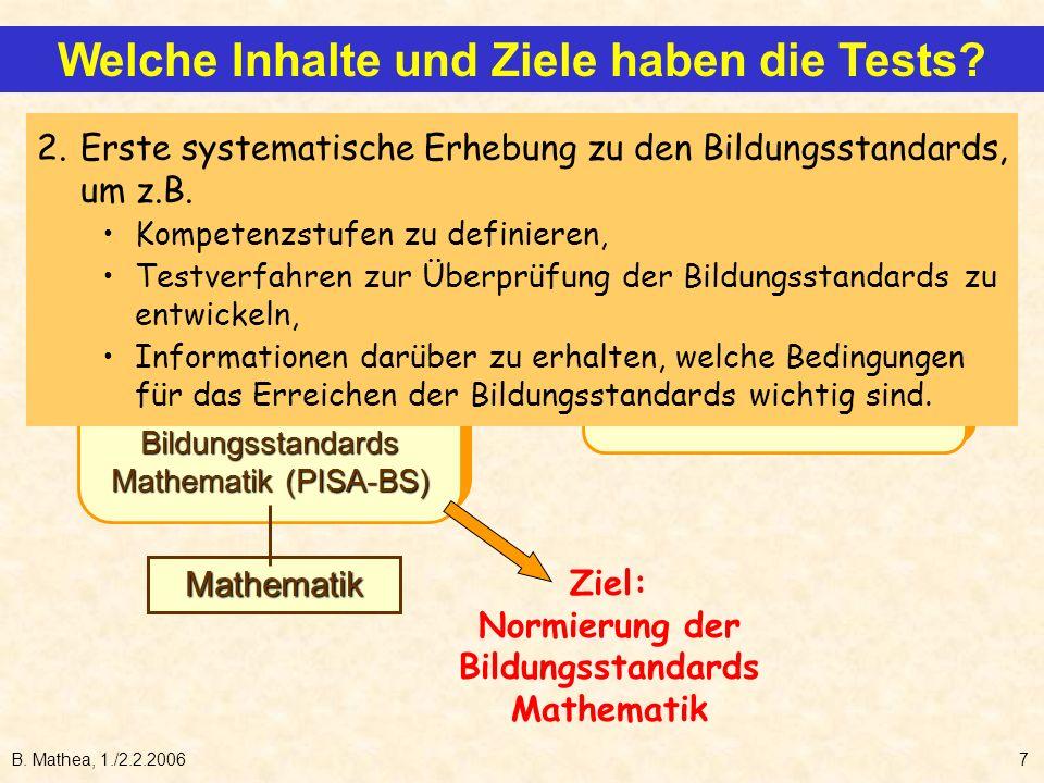 B. Mathea, 1./2.2.20067 internat. Tests (PISA-I) und Bildungsstandards Mathematik (PISA-BS) internat. Tests (PISA-I) und Bildungsstandards Mathematik