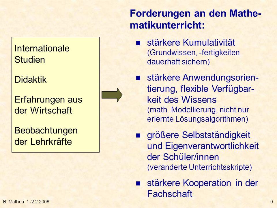 B. Mathea, 1./2.2.20069 Internationale Studien Didaktik Erfahrungen aus der Wirtschaft Beobachtungen der Lehrkräfte Forderungen an den Mathe- matikunt