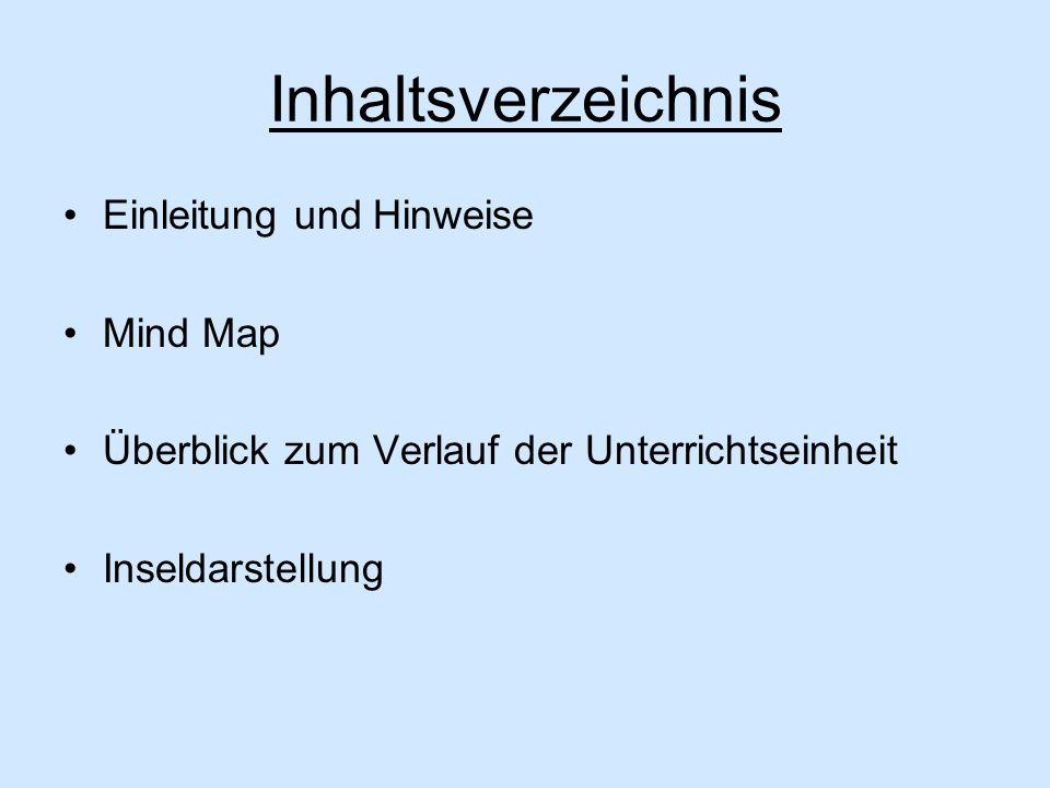 Inhaltsverzeichnis Einleitung und Hinweise Mind Map Überblick zum Verlauf der Unterrichtseinheit Inseldarstellung