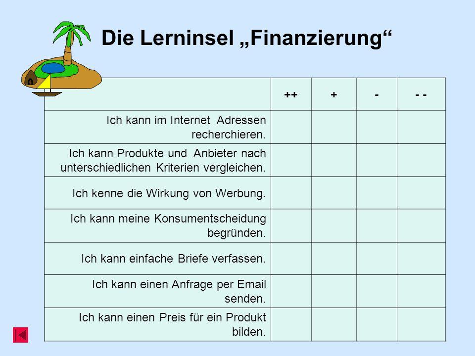 Die Lerninsel Finanzierung +++-- Ich kann im Internet Adressen recherchieren. Ich kann Produkte und Anbieter nach unterschiedlichen Kriterien vergleic