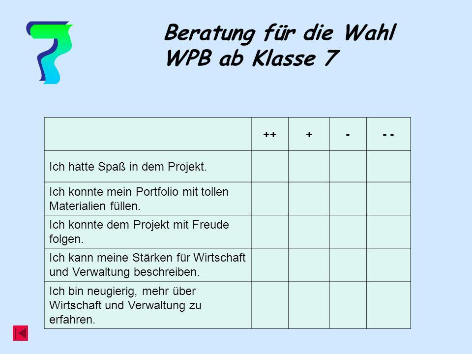 Beratung für die Wahl WPB ab Klasse 7 +++-- Ich hatte Spaß in dem Projekt. Ich konnte mein Portfolio mit tollen Materialien füllen. Ich konnte dem Pro