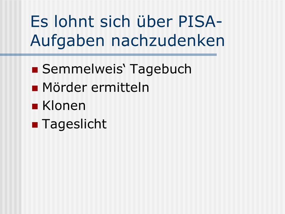 Es lohnt sich über PISA- Aufgaben nachzudenken Semmelweis Tagebuch Mörder ermitteln Klonen Tageslicht