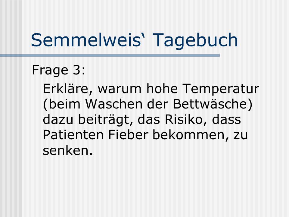 Semmelweis Tagebuch Frage 3: Erkläre, warum hohe Temperatur (beim Waschen der Bettwäsche) dazu beiträgt, das Risiko, dass Patienten Fieber bekommen, zu senken.