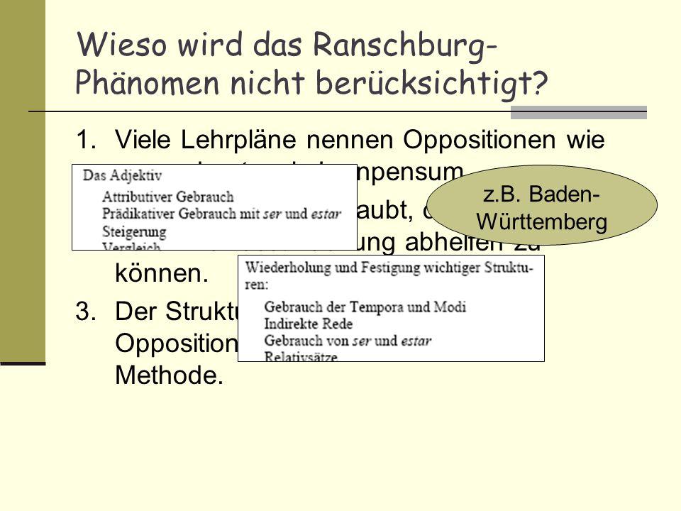 Wieso wird das Ranschburg- Phänomen nicht berücksichtigt? 1.Viele Lehrpläne nennen Oppositionen wie ser und estar als Lernpensum. 2.Der Kognitivismus