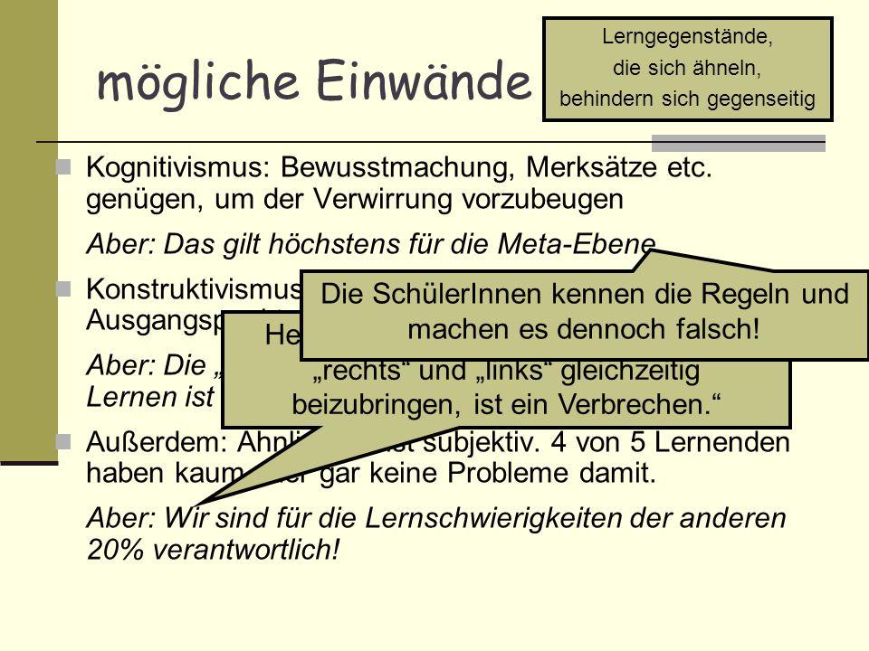 Wieso wird das Ranschburg- Phänomen nicht berücksichtigt.