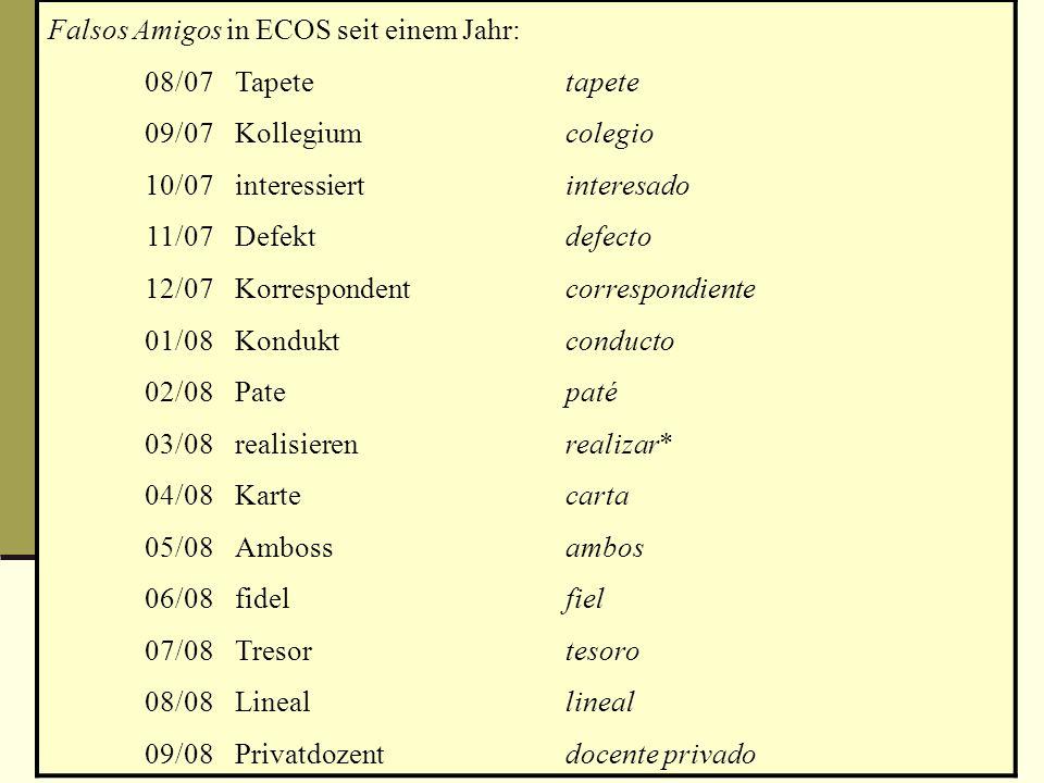 Die Situation in heutigen Lernmedien 1. Hinweise auf False Friends erzeugen die Verwechslungen, die sie bekämpfen: Falsos Amigos in ECOS seit einem Ja
