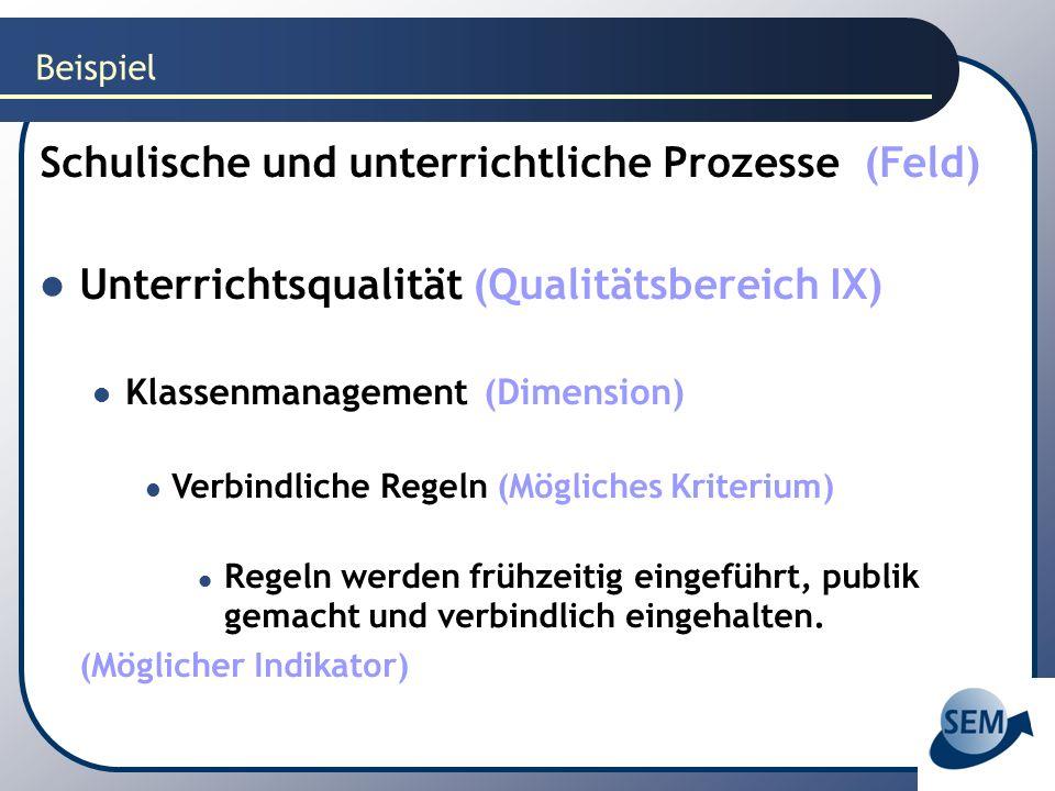 Beispiel Schulische und unterrichtliche Prozesse (Feld) Unterrichtsqualität (Qualitätsbereich IX) Klassenmanagement (Dimension) Verbindliche Regeln (M