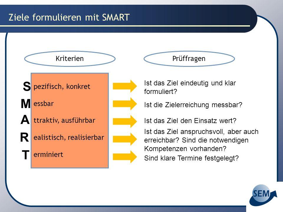 Ziele formulieren mit SMART pezifisch, konkret essbar ttraktiv, ausführbar ealistisch, realisierbar erminiert S M A R T Ist das Ziel eindeutig und kla