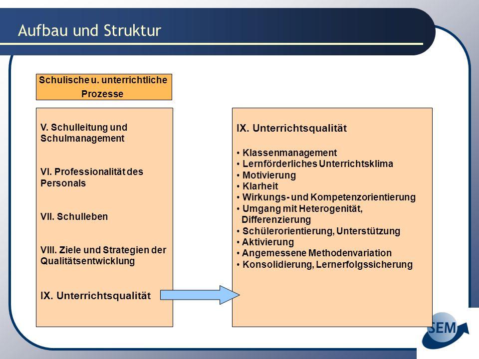 Aufbau und Struktur Schulische u. unterrichtliche Prozesse V. Schulleitung und Schulmanagement VI. Professionalität des Personals VII. Schulleben VIII