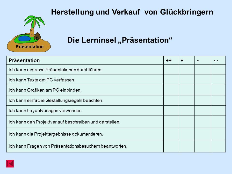 Präsentation Die Lerninsel Präsentation Herstellung und Verkauf von Glückbringern Präsentation+++-- Ich kann einfache Präsentationen durchführen.