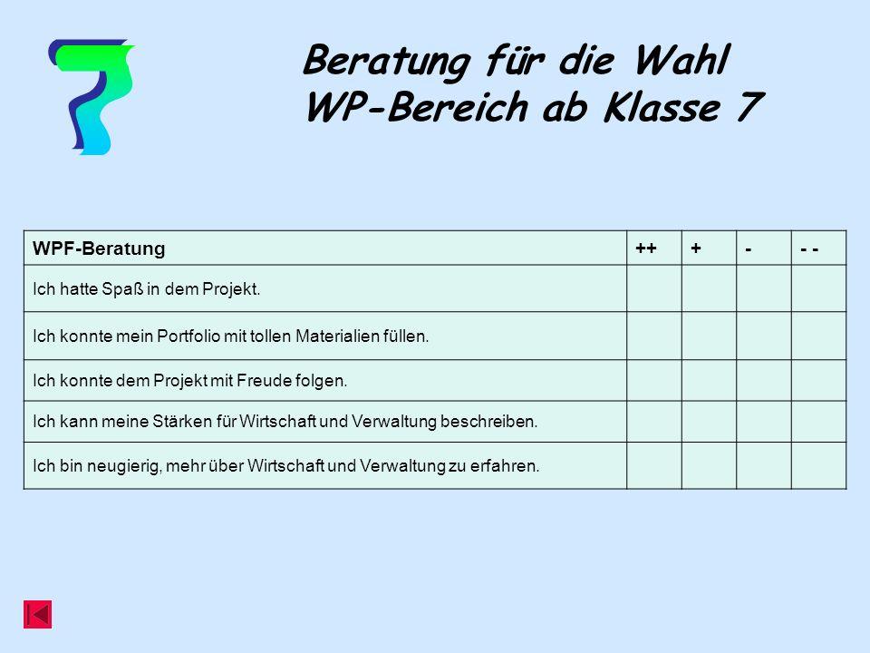 Beratung für die Wahl WP-Bereich ab Klasse 7 WPF-Beratung+++-- Ich hatte Spaß in dem Projekt.