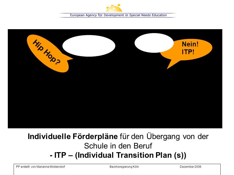Individuelle Förderpläne für den Übergang von der Schule in den Beruf - ITP – (Individual Transition Plan(s)) für Jugendliche mit sonderpädagogischem Förderbedarf, die einen Arbeitsplatz suchen und dabei etwas Unterstützung brauchen.