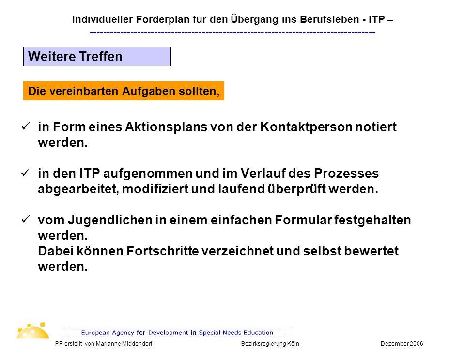 in Form eines Aktionsplans von der Kontaktperson notiert werden. in den ITP aufgenommen und im Verlauf des Prozesses abgearbeitet, modifiziert und lau