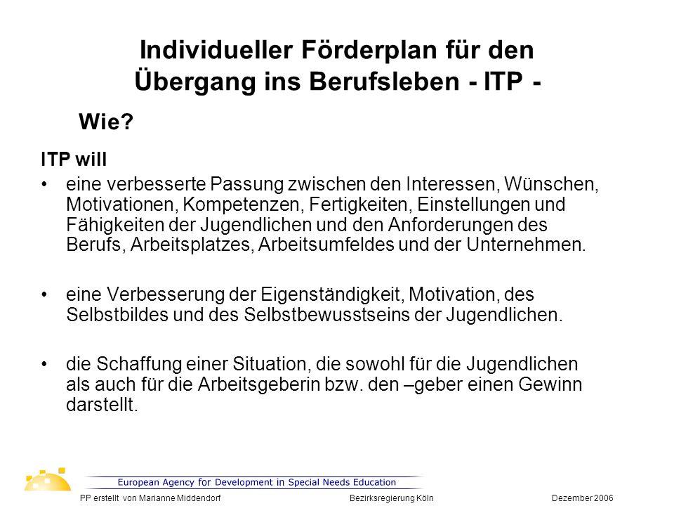 Individueller Förderplan für den Übergang ins Berufsleben - ITP - ITP will eine verbesserte Passung zwischen den Interessen, Wünschen, Motivationen, K