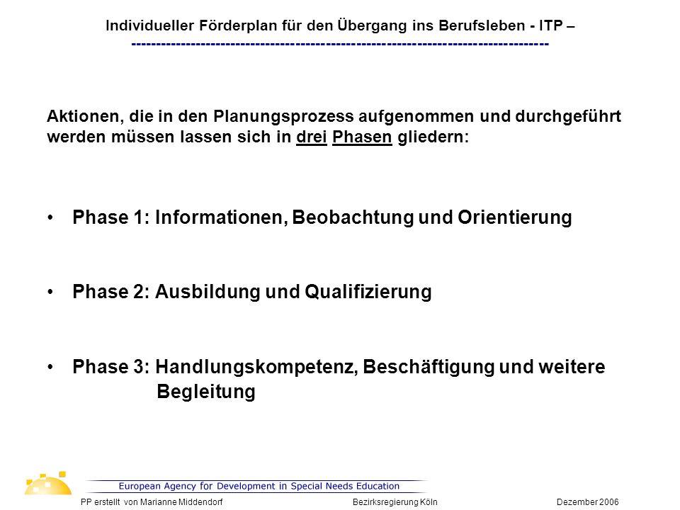 Phase 1: Informationen, Beobachtung und Orientierung Phase 2: Ausbildung und Qualifizierung Phase 3: Handlungskompetenz, Beschäftigung und weitere Beg