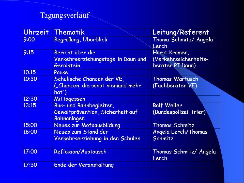 UhrzeitThematikLeitung/Referent 9:00Begrüßung, ÜberblickThoma Schmitz/ Angela Lerch 9:15Bericht über die Verkehrserziehungstage in Daun und Gerolstein