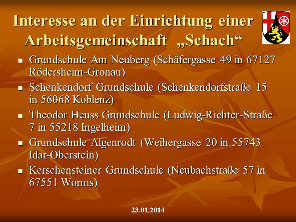 Interesse an der Einrichtung einer Arbeitsgemeinschaft Schach Grundschule Am Neuberg (Schäfergasse 49 in 67127 Rödersheim-Gronau) Grundschule Am Neube