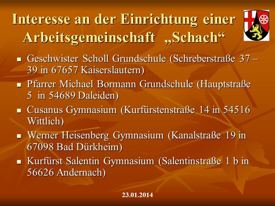 Interesse an der Einrichtung einer Arbeitsgemeinschaft Schach Geschwister Scholl Grundschule (Schreberstraße 37 – 39 in 67657 Kaiserslautern) Geschwis