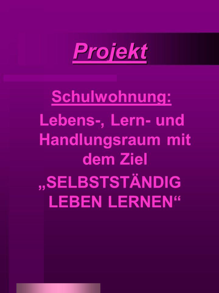Projekt Schulwohnung: Lebens-, Lern- und Handlungsraum mit dem Ziel SELBSTSTÄNDIG LEBEN LERNEN