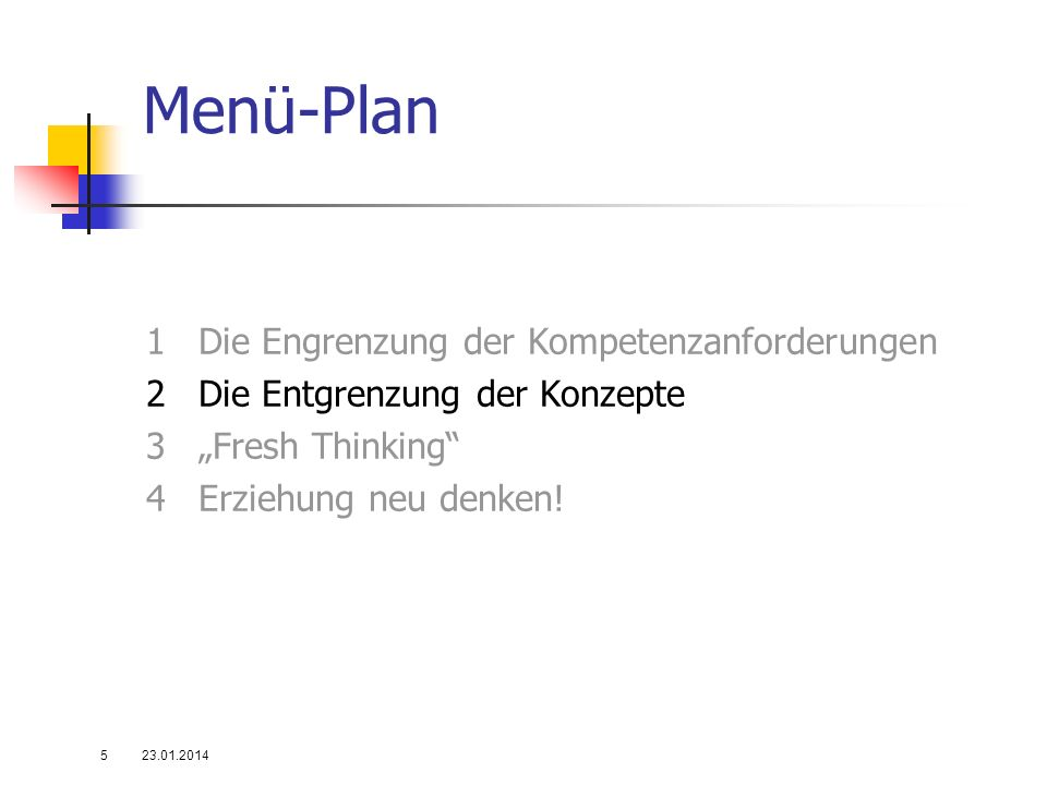 Menü-Plan 1Die Engrenzung der Kompetenzanforderungen 2Die Entgrenzung der Konzepte 3Fresh Thinking 4Erziehung neu denken! 23.01.20145
