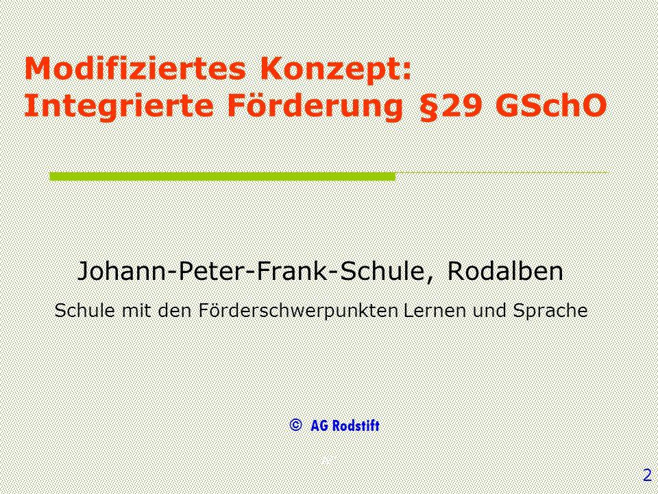 AG Modifiziertes Konzept: Integrierte Förderung §29 GSchO Johann-Peter-Frank-Schule, Rodalben Schule mit den Förderschwerpunkten Lernen und Sprache ©