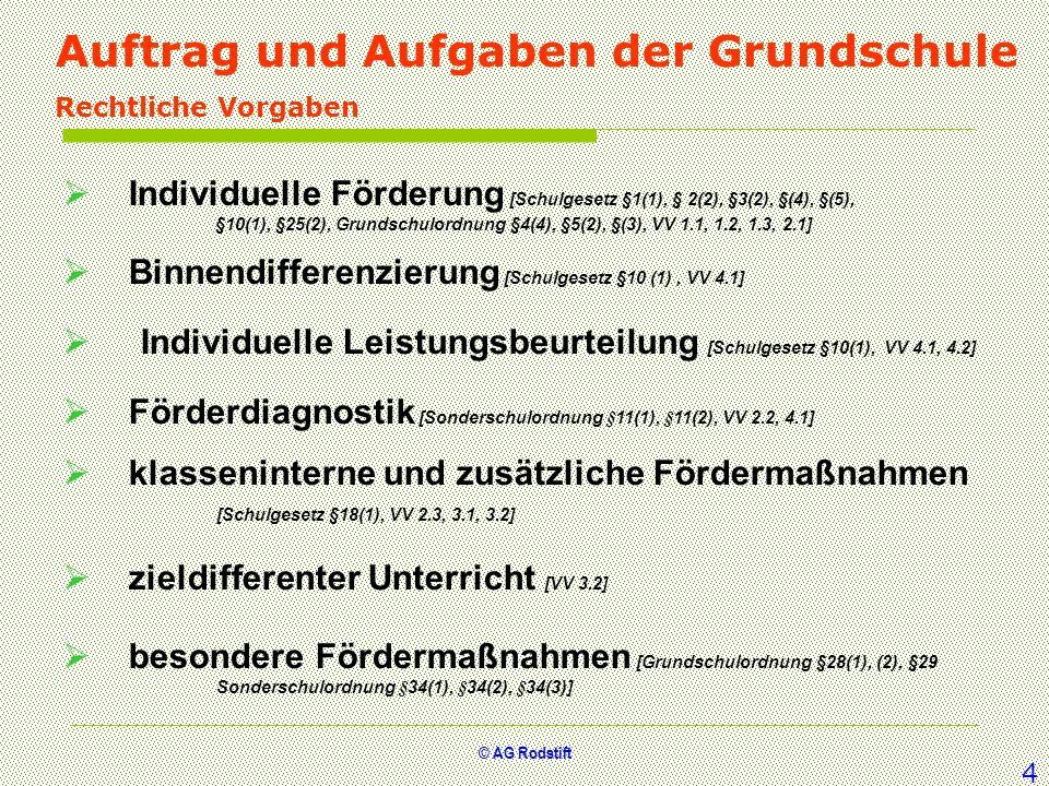 © AG Rodstift Auftrag und Aufgaben der Grundschule Rechtliche Vorgaben Individuelle Förderung [Schulgesetz §1(1), § 2(2), §3(2), §(4), §(5), §10(1), §