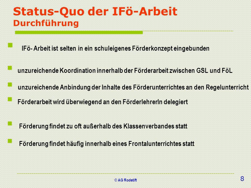 © AG Rodstift Status-Quo der IFö-Arbeit Durchführung unzureichende Anbindung der Inhalte des Förderunterrichtes an den Regelunterricht Förderung finde