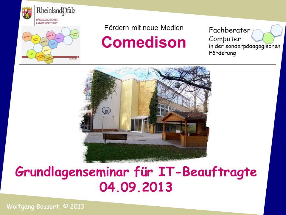 Fördern mit neue Medien Comedison Fachberater Computer in der sonderpädagogischen Förderung Wolfgang Bossert, © 2013 Grundlagenseminar für IT-Beauftra