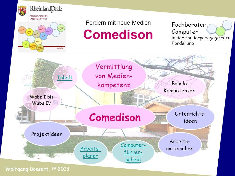 Fördern mit neue Medien Comedison Fachberater Computer in der sonderpädagogischen Förderung Wolfgang Bossert, © 2013 Comedison Vermittlung von Medien-