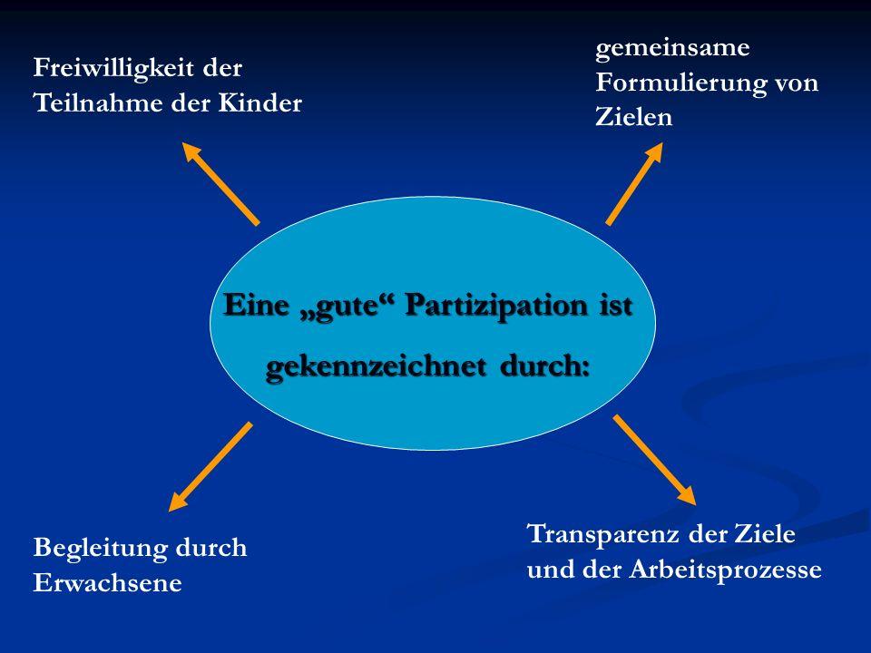 Eine gute Partizipation ist gekennzeichnet durch: Freiwilligkeit der Teilnahme der Kinder Begleitung durch Erwachsene gemeinsame Formulierung von Ziel