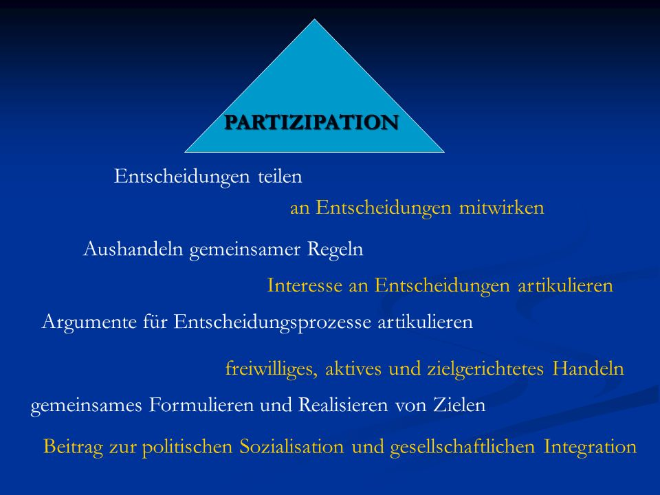Beteiligung als pädagogisches Prinzip verlangt, dass in jeder Situation eigene Formen der pädagogischen Aktivitäten entwickelt werden, gefordert ist kein lineares Vorgehen, sondern eine flexible Planung, die mögliche Veränderungen miteinbezieht.