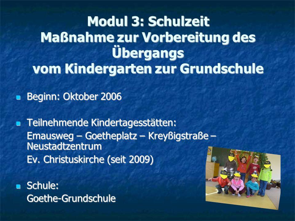 Modul 3: Schulzeit Maßnahme zur Vorbereitung des Übergangs vom Kindergarten zur Grundschule Beginn: Oktober 2006 Beginn: Oktober 2006 Teilnehmende Kin