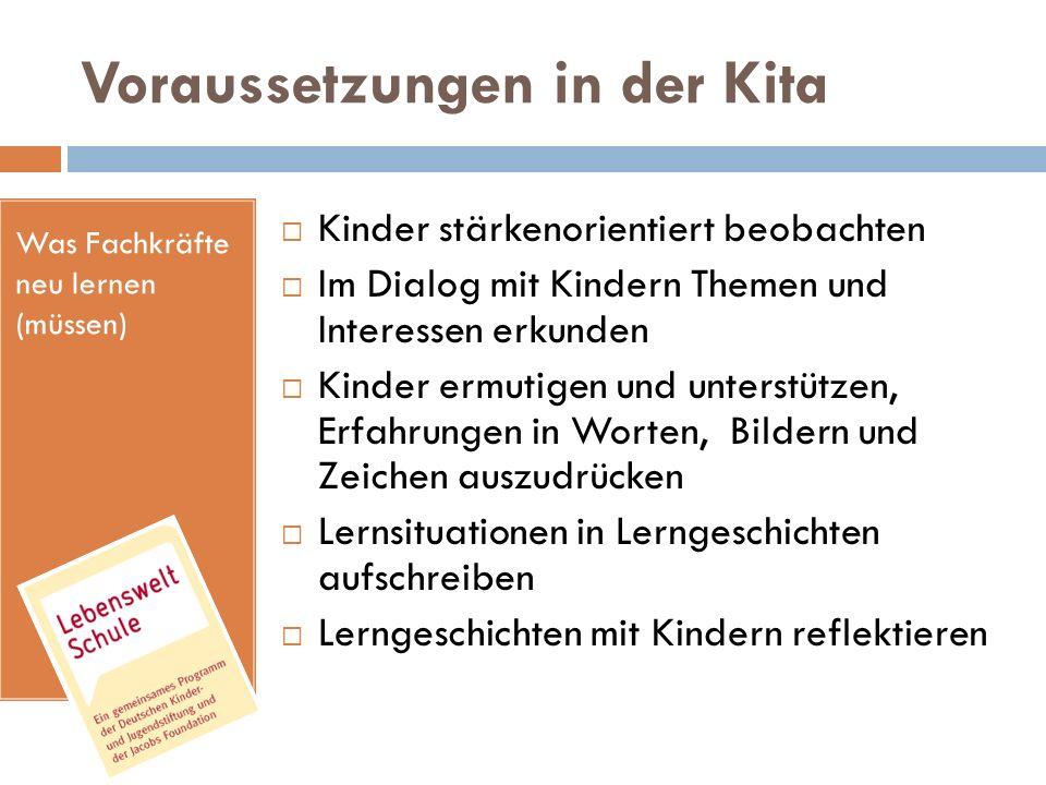 Was Fachkräfte neu lernen (müssen) Voraussetzungen in der Kita Kinder stärkenorientiert beobachten Im Dialog mit Kindern Themen und Interessen erkunde