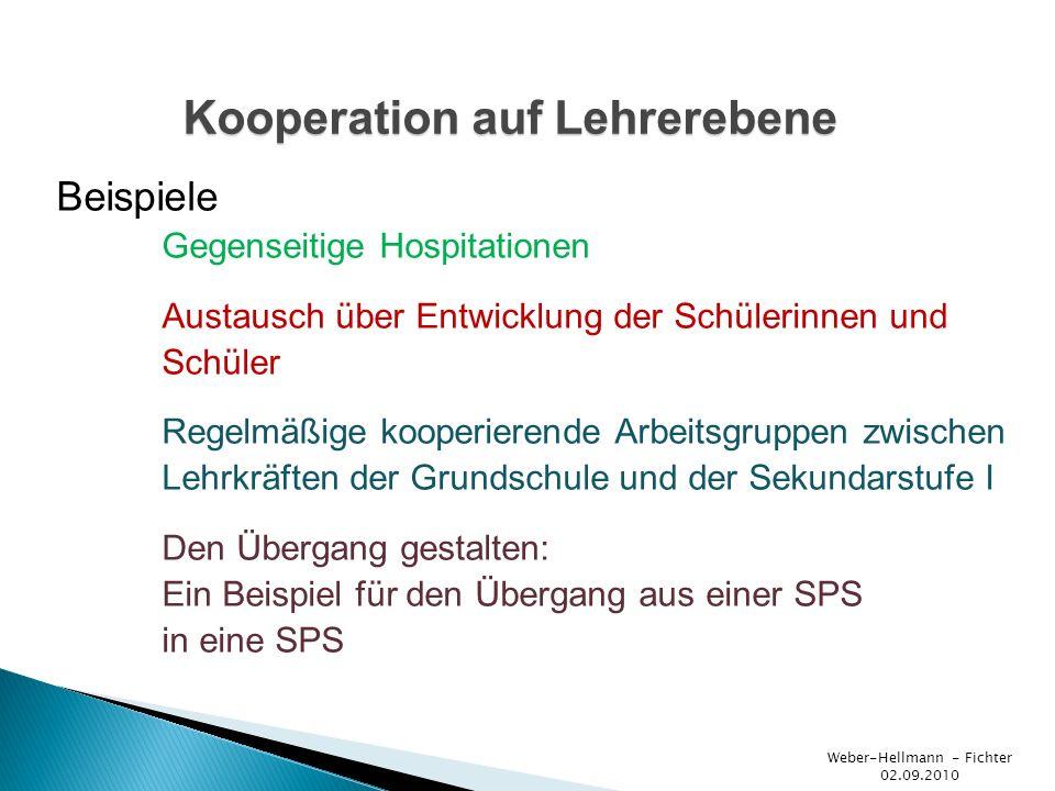 Beispiele Weber-Hellmann - Fichter 02.09.2010 Welche Schule für mein Kind.