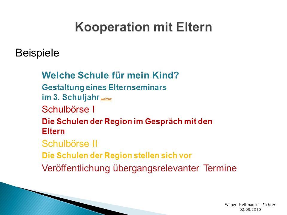 Beispiele Weber-Hellmann - Fichter 02.09.2010 Welche Schule für mein Kind? Gestaltung eines Elternseminars im 3. Schuljahr weiter weiter Schulbörse I