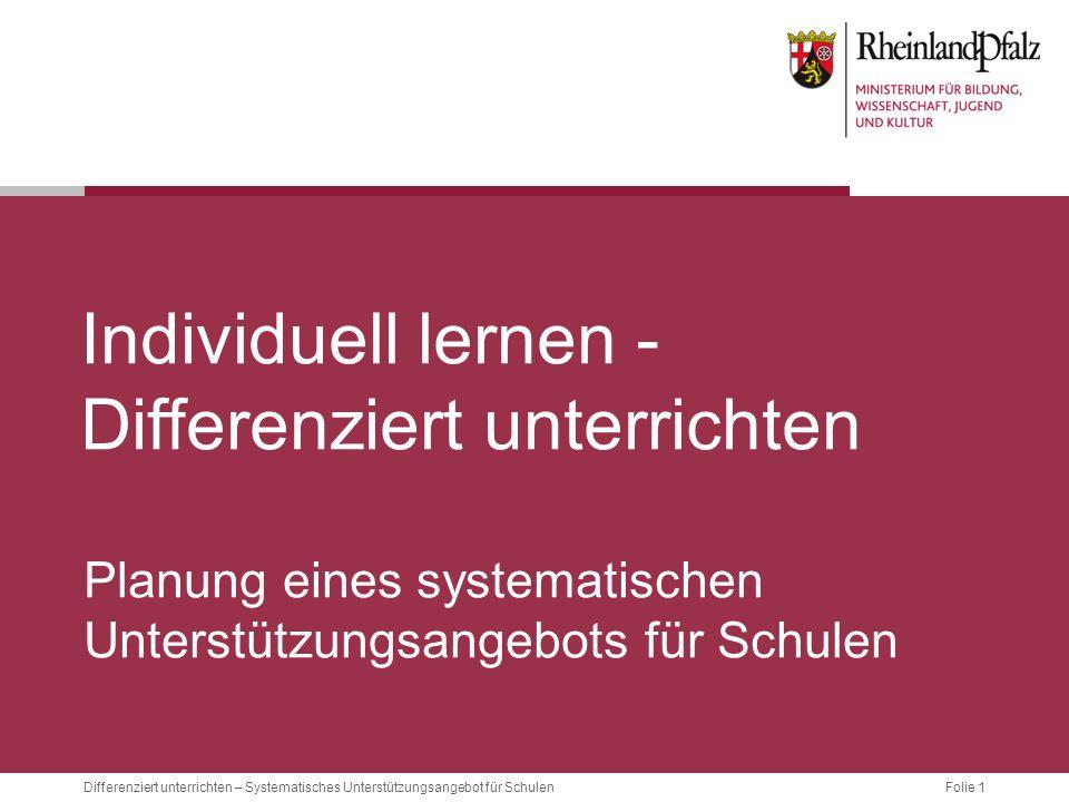 Folie 1Differenziert unterrichten – Systematisches Unterstützungsangebot für Schulen Individuell lernen - Differenziert unterrichten Planung eines systematischen Unterstützungsangebots für Schulen