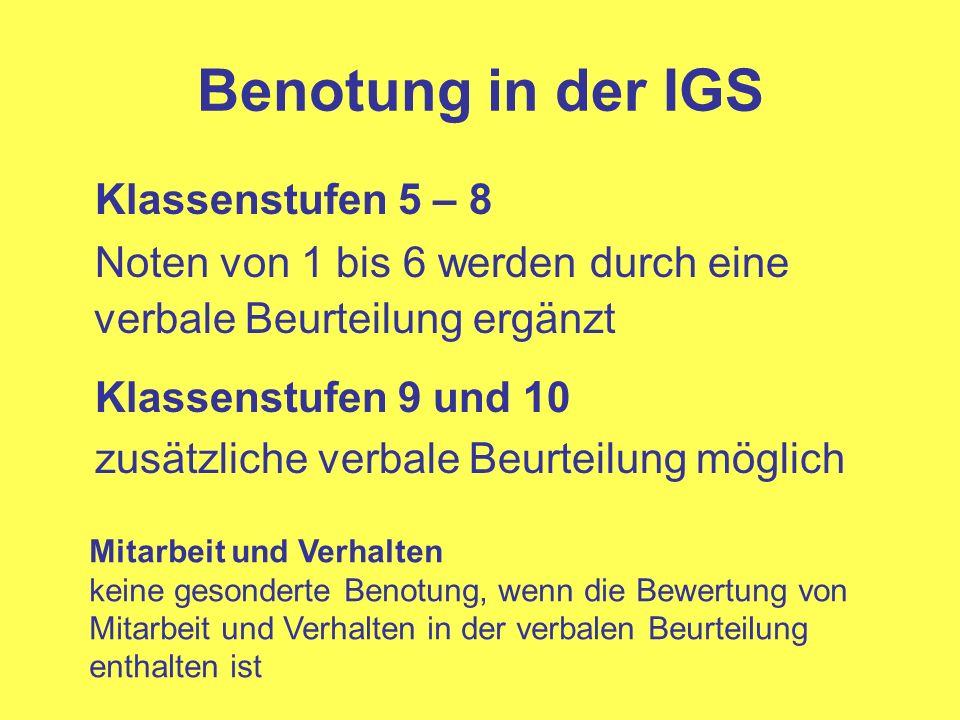 Benotung in der IGS Klassenstufen 5 – 8 Noten von 1 bis 6 werden durch eine verbale Beurteilung ergänzt Klassenstufen 9 und 10 zusätzliche verbale Beu