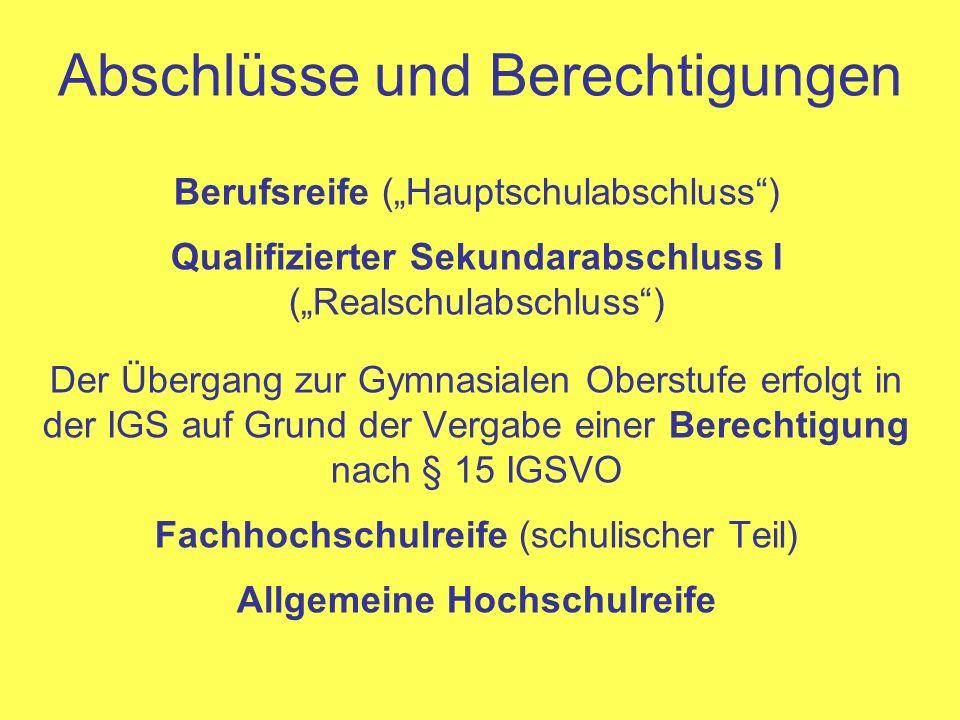 Abschlüsse und Berechtigungen Berufsreife (Hauptschulabschluss) Qualifizierter Sekundarabschluss I (Realschulabschluss) Der Übergang zur Gymnasialen O