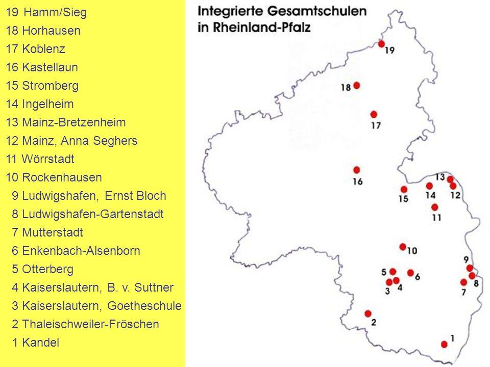 19Hamm/Sieg 18 Horhausen 17 Koblenz 16 Kastellaun 15 Stromberg 14 Ingelheim 13 Mainz-Bretzenheim 12 Mainz, Anna Seghers 11 Wörrstadt 10 Rockenhausen 9