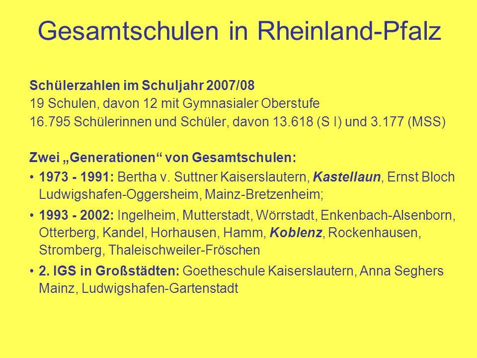 Gesamtschulen in Rheinland-Pfalz Schülerzahlen im Schuljahr 2007/08 19 Schulen, davon 12 mit Gymnasialer Oberstufe 16.795 Schülerinnen und Schüler, da