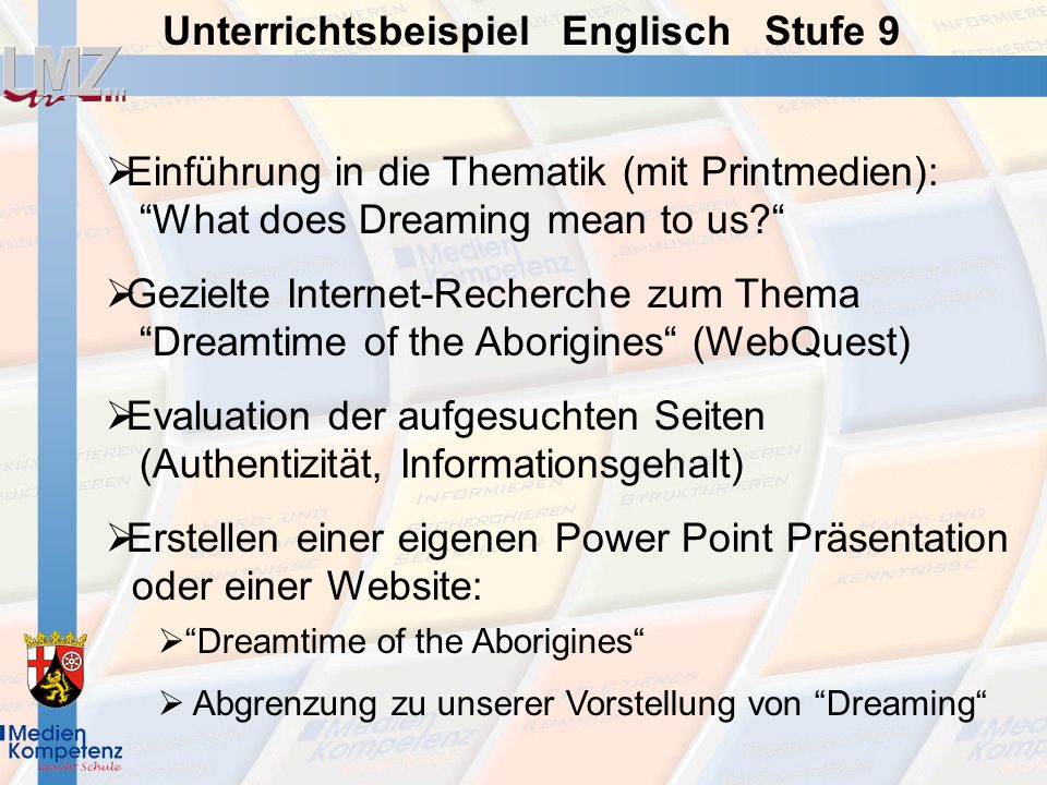 Einführung in die Thematik (mit Printmedien): What does Dreaming mean to us? Gezielte Internet-Recherche zum Thema Dreamtime of the Aborigines (WebQue