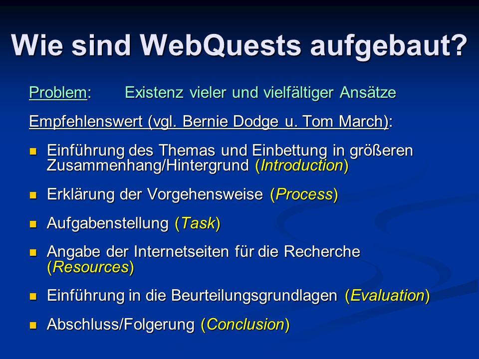 Wie sind WebQuests aufgebaut? Problem:Existenz vieler und vielfältiger Ansätze Empfehlenswert (vgl. Bernie Dodge u. Tom March): Einführung des Themas