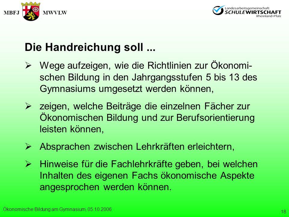 MBFJMWVLW Ökonomische Bildung am Gymnasium, 05.10.2006 18 Die Handreichung soll... Wege aufzeigen, wie die Richtlinien zur Ökonomi- schen Bildung in d