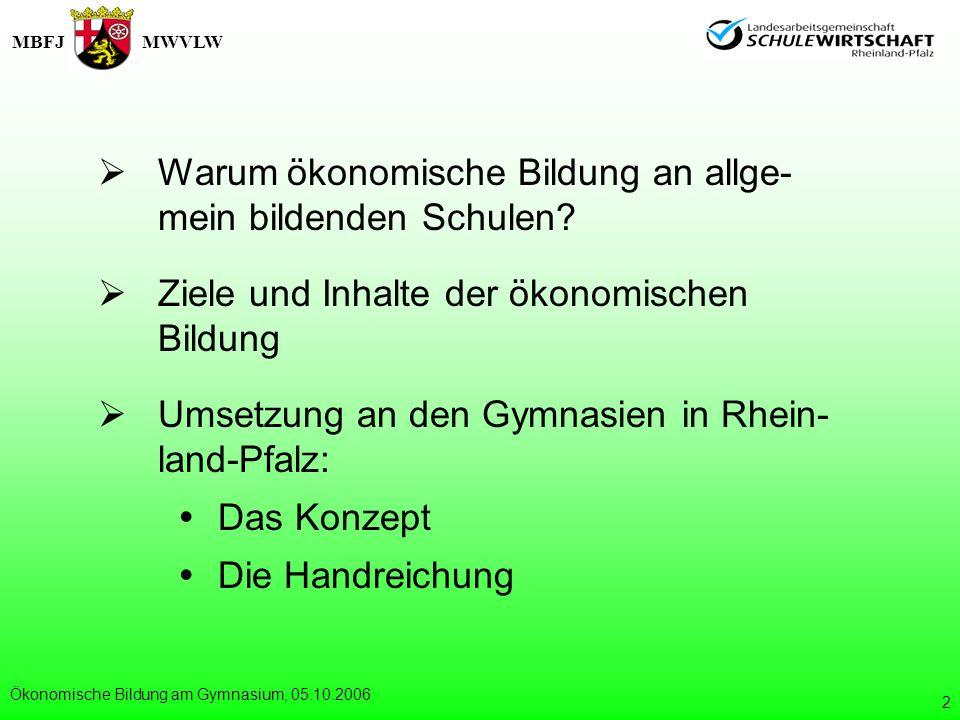 MBFJMWVLW Ökonomische Bildung am Gymnasium, 05.10.2006 3 Warum ökonomische Bildung an allge- mein bildenden Schulen.
