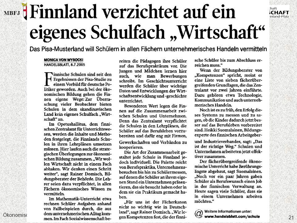 MBFJMWVLW Ökonomische Bildung am Gymnasium, 05.10.2006 21