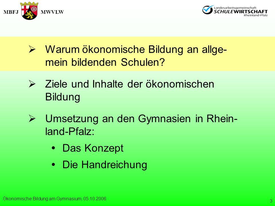 MBFJMWVLW Ökonomische Bildung am Gymnasium, 05.10.2006 14 Konzept und Aufbau der Handreichung: 5 6 7 8 9 10 11 12 13 Übersicht: Fächer, Themenschwerpunkte der Ök.