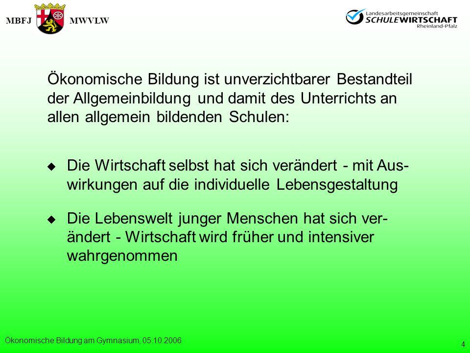 MBFJMWVLW Ökonomische Bildung am Gymnasium, 05.10.2006 5 Warum ökonomische Bildung an allge- mein bildenden Schulen.